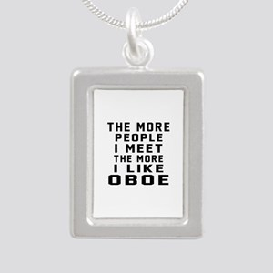 I Like More Oboe Silver Portrait Necklace