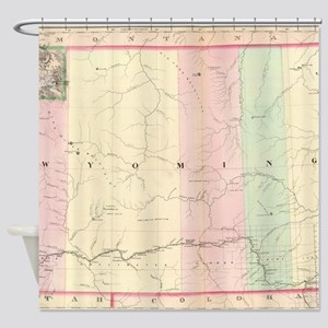 Vintage Map of Wyoming (1874) Shower Curtain