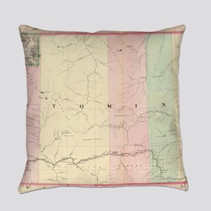 Vintage Map of Wyoming (1874) Everyday Pillow