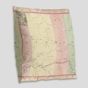 Vintage Map of Wyoming (1874) Burlap Throw Pillow