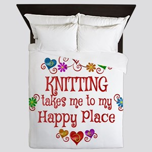 Knitting Happy Place Queen Duvet