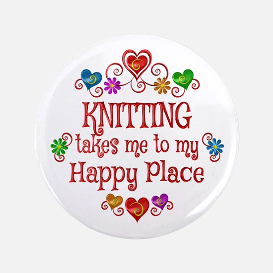 Knitting Happy Place Button