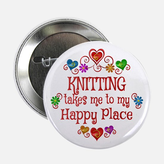 """Knitting Happy Place 2.25"""" Button (10 pack)"""