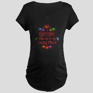 Knitting Happy Place Maternity Dark T-Shirt