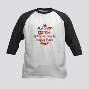 Knitting Happy Place Kids Baseball Jersey