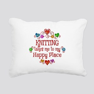 Knitting Happy Place Rectangular Canvas Pillow