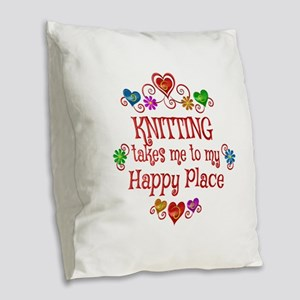 Knitting Happy Place Burlap Throw Pillow