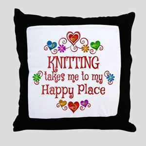 Knitting Happy Place Throw Pillow