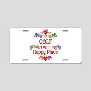 Golf Happy Place Aluminum License Plate