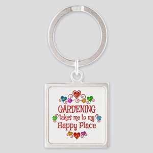 Gardening Happy Place Square Keychain
