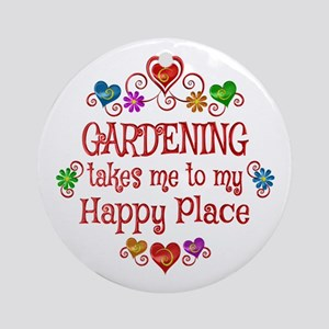 Gardening Happy Place Round Ornament