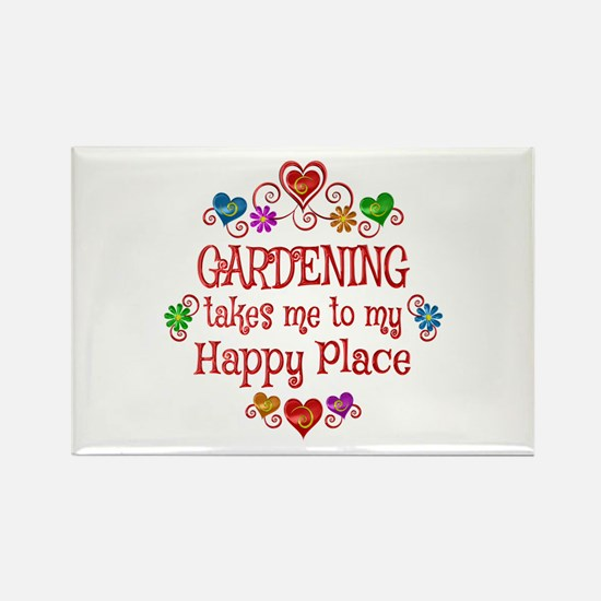 Gardening Happy Place Rectangle Magnet