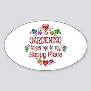 Gardening Happy Place Sticker (Oval)