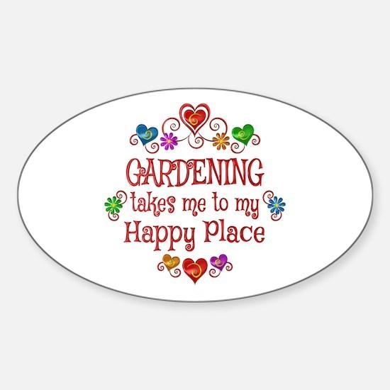 Gardening Happy Place Sticker (Oval)