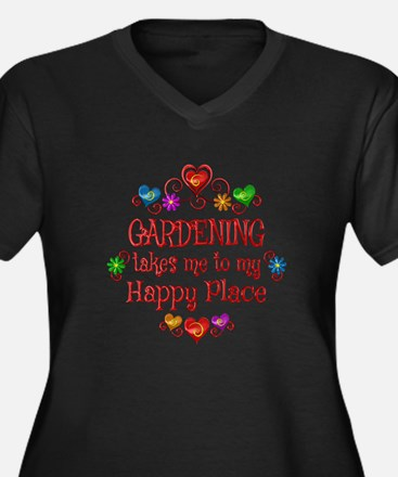 Gardening Ha Women's Plus Size V-Neck Dark T-Shirt