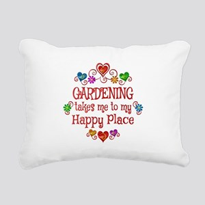 Gardening Happy Place Rectangular Canvas Pillow