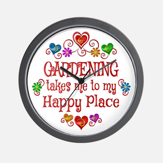 Gardening Happy Place Wall Clock