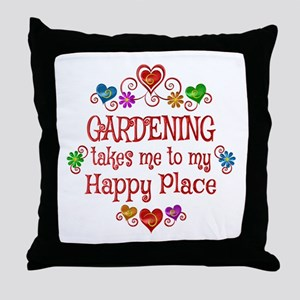 Gardening Happy Place Throw Pillow