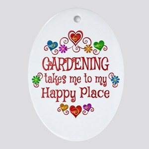 Gardening Happy Place Oval Ornament