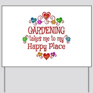 Gardening Happy Place Yard Sign