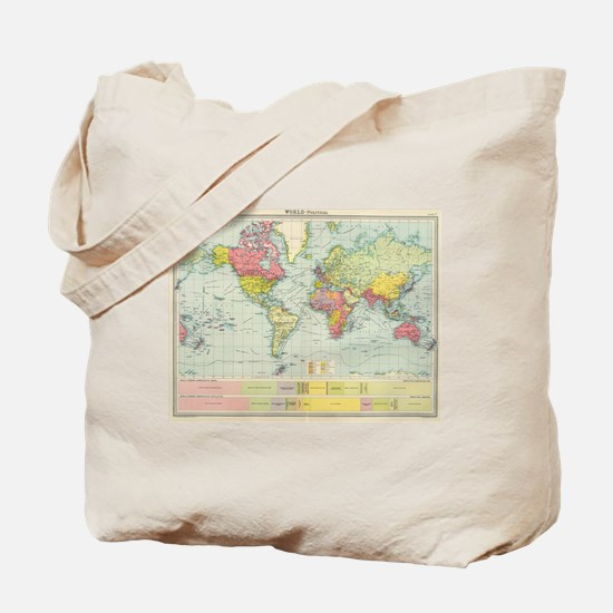 Vintage Political Map of The World (1922) Tote Bag