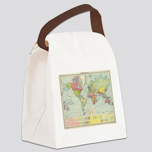 Vintage Political Map of The Worl Canvas Lunch Bag