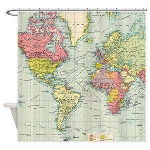 World Map Shower Curtains