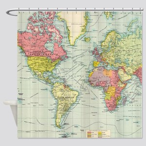 World map bed bath cafepress vintage political map of the world shower curtain gumiabroncs Images