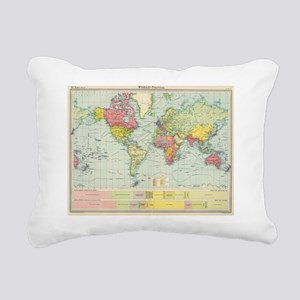 Vintage Political Map of Rectangular Canvas Pillow