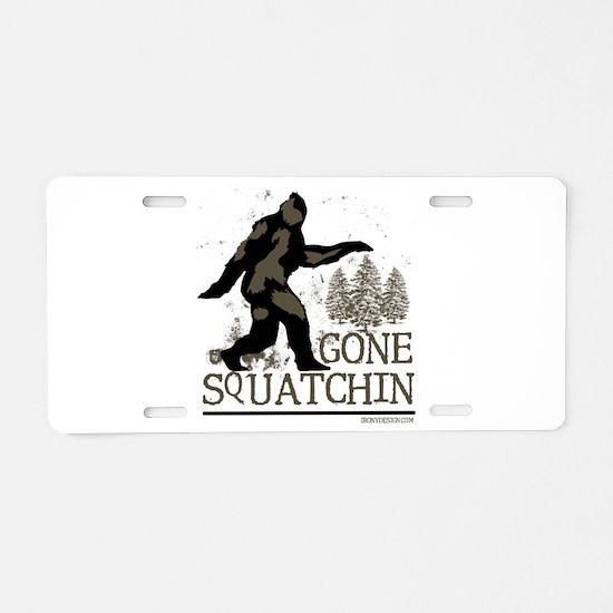 Sasquatch Gone Squatchin Aluminum License Plate