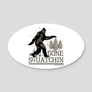 Sasquatch Gone Squatchin Oval Car Magnet