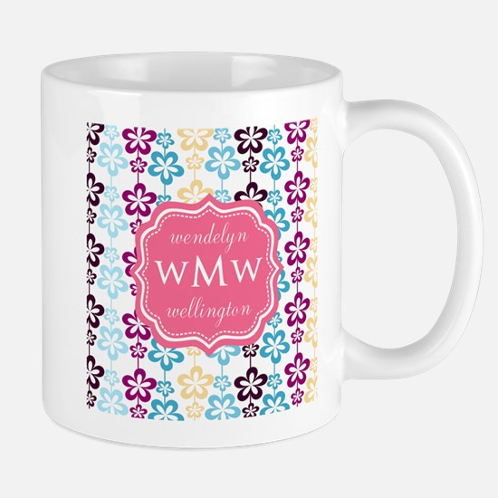 Pink Chic Floral Print Stainless Steel Travel Mugs
