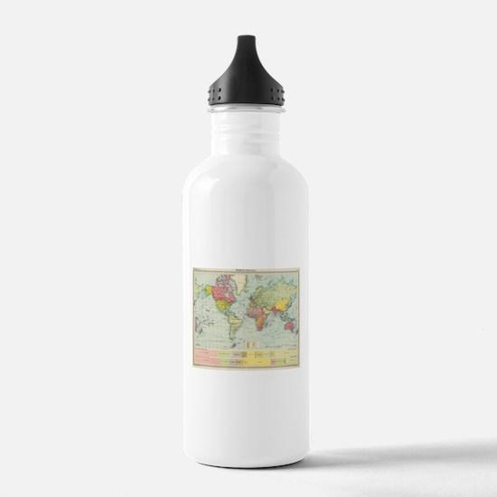 Vintage Political Map Water Bottle