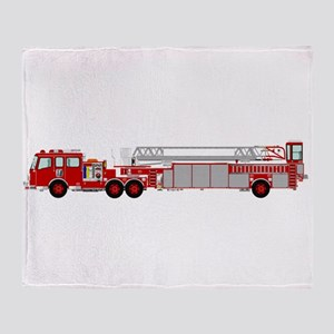 Fire Truck - Traditional ladder fire Throw Blanket