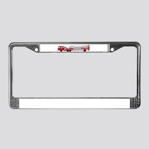 Fire Truck - Traditional ladde License Plate Frame