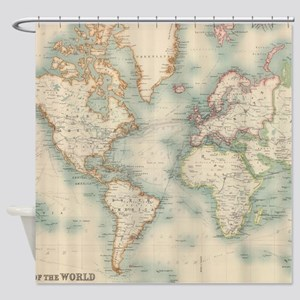 Vintage Map Of The World 1911 Shower Curtain
