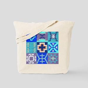 Blue Navajo Symbols Tote Bag