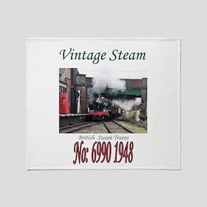 Vintage Steam Railway Train number 6 Throw Blanket