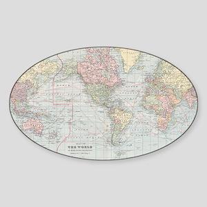 Vintage World Map (1901) Sticker
