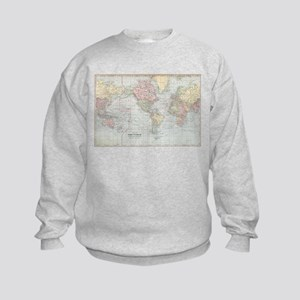 Vintage World Map (1901) Kids Sweatshirt