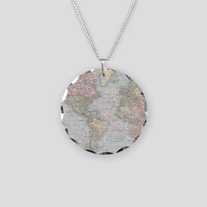 Vintage World Map (1901) Necklace Circle Charm