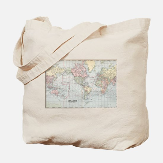 Vintage World Map (1901) Tote Bag