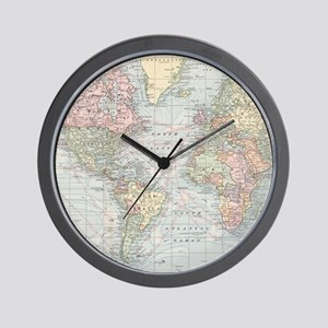 World map wall clocks cafepress vintage world map 1901 wall clock gumiabroncs Image collections