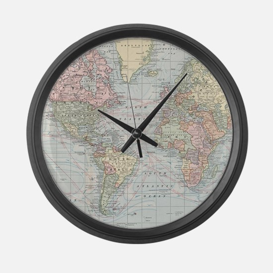 Vintage World Map (1901) Large Wall Clock