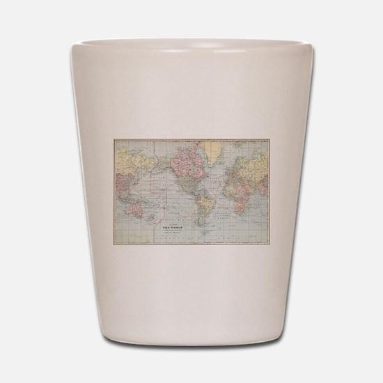 Vintage World Map (1901) Shot Glass