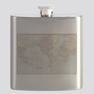 Vintage World Map (1901) Flask