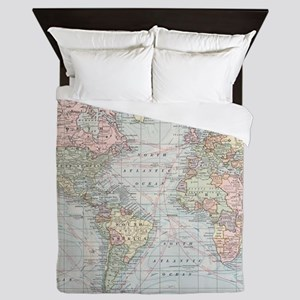 Vintage World Map (1901) Queen Duvet