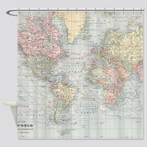 Vintage World Map (1901) Shower Curtain