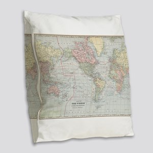Vintage World Map (1901) Burlap Throw Pillow