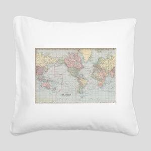 Vintage World Map (1901) Square Canvas Pillow